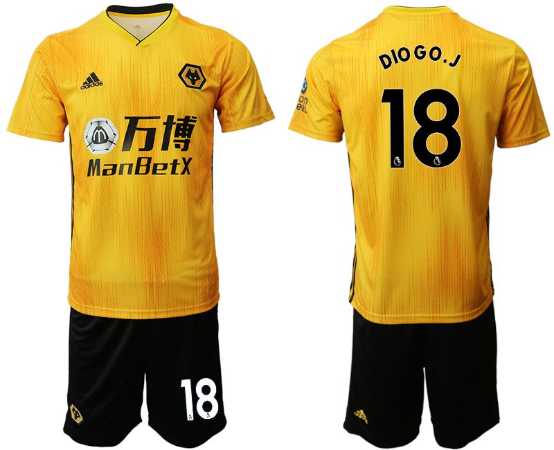 Men 2019-2020 club Wolverhampton Wanderers 18 yellow Soccer Jerseys