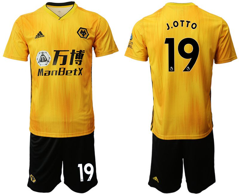 Men 2019-2020 club Wolverhampton Wanderers 19 yellow Soccer Jerseys