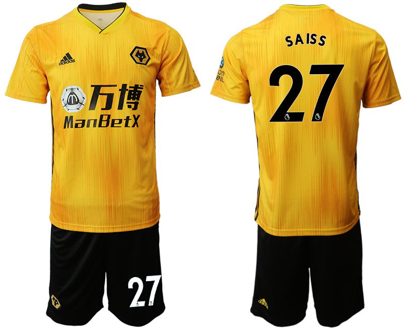 Men 2019-2020 club Wolverhampton Wanderers 27 yellow Soccer Jerseys