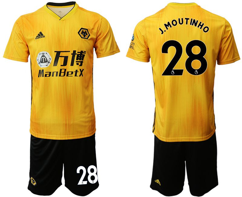 Men 2019-2020 club Wolverhampton Wanderers 28 yellow Soccer Jerseys