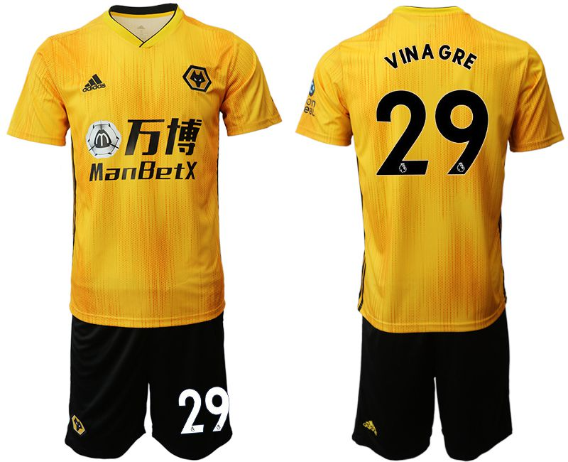 Men 2019-2020 club Wolverhampton Wanderers 29 yellow Soccer Jerseys