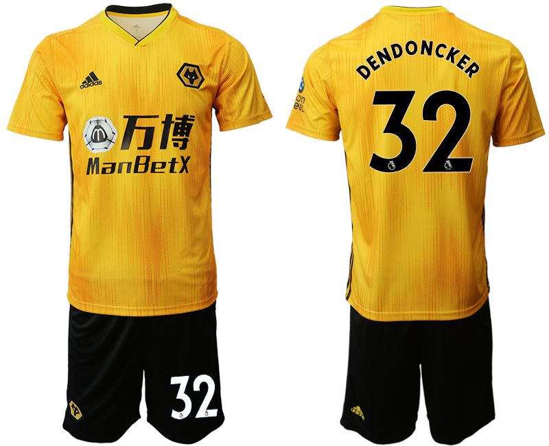Men 2019-2020 club Wolverhampton Wanderers 32 yellow Soccer Jerseys