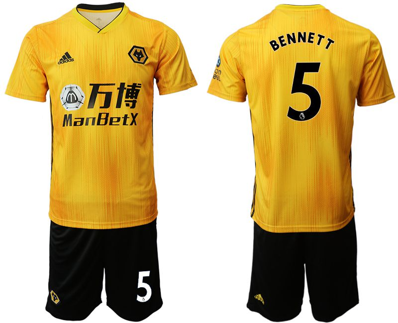 Men 2019-2020 club Wolverhampton Wanderers 5 yellow Soccer Jerseys