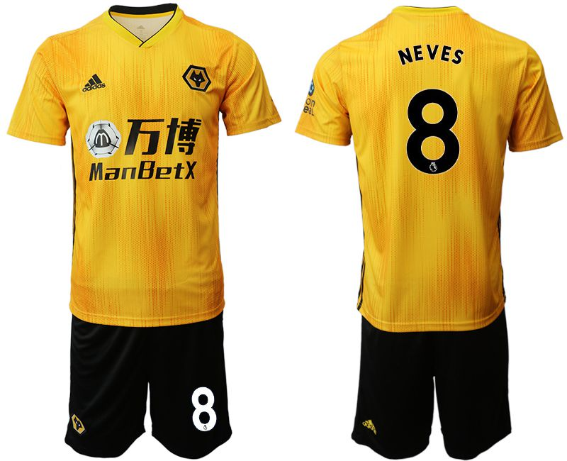 Men 2019-2020 club Wolverhampton Wanderers 8 yellow Soccer Jerseys