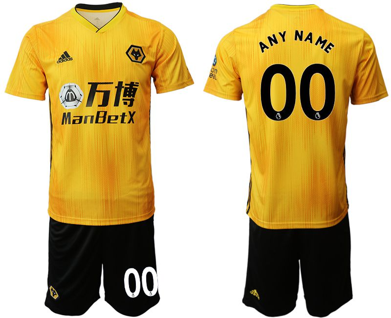 Men 2019-2020 club Wolverhampton Wanderers customized yellow Soccer Jerseys