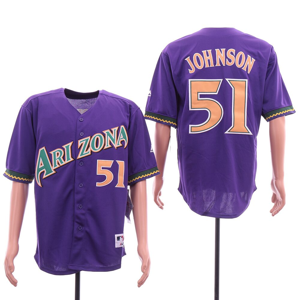 Men Arizona Diamondback 51 Johnson Purple MLB Jerseys