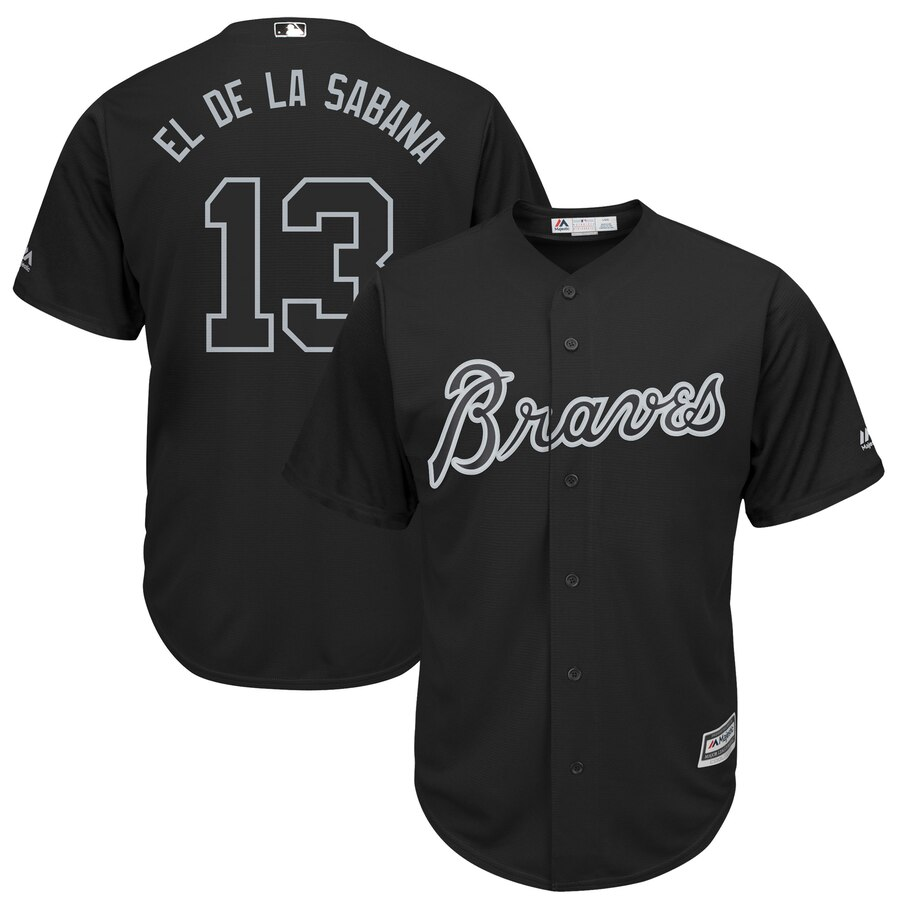 Men Atlanta Braves 13 El De La Sabana black MLB Jerseys
