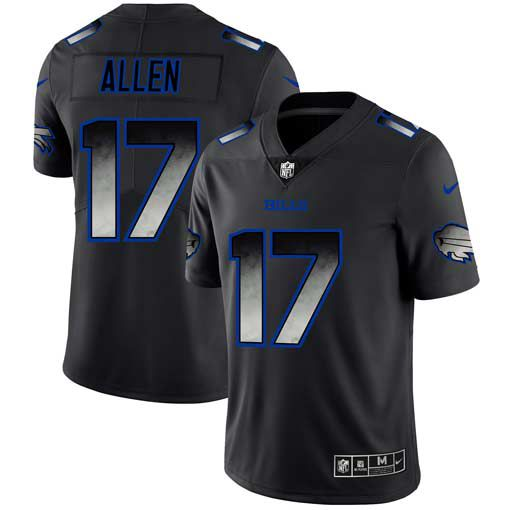 Men Buffalo Bills 17 Allen Nike Teams Black Smoke Fashion Limited NFL Jerseys