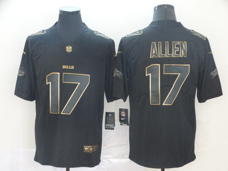 Men Buffalo Bills 17 Allen Nike Vapor Limited Black Golden NFL Jerseys