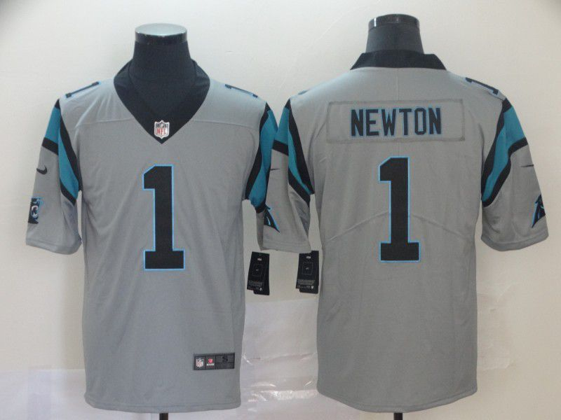 Men Carolina Panthers 1 Newton 2019 Vapor Untouchable Nike Gray Inverted Legend NFL Jerseys