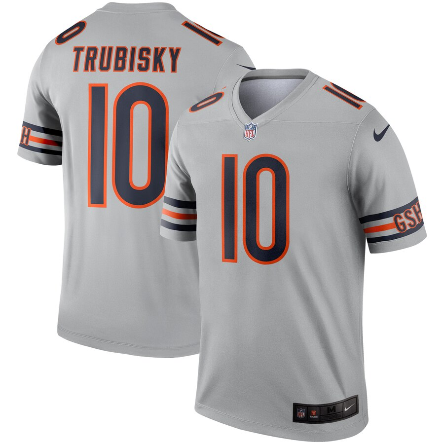 Men Chicago Bears 10 Trubisky Grey Nike Limited NFL Jerseys
