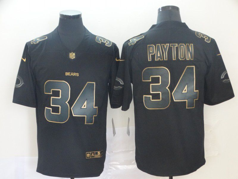 Men Chicago Bears 34 Payton Nike Vapor Limited Black Golden NFL Jerseys