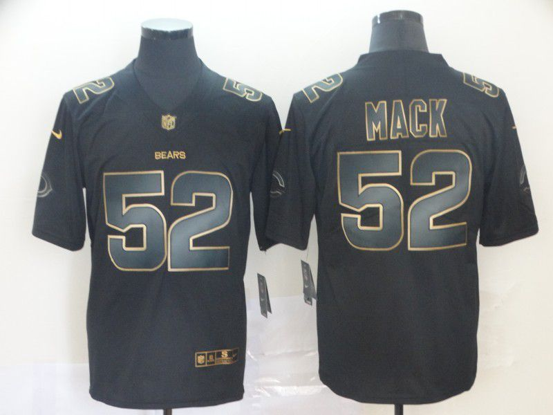 Men Chicago Bears 52 Mack Nike Vapor Limited Black Golden NFL Jerseys