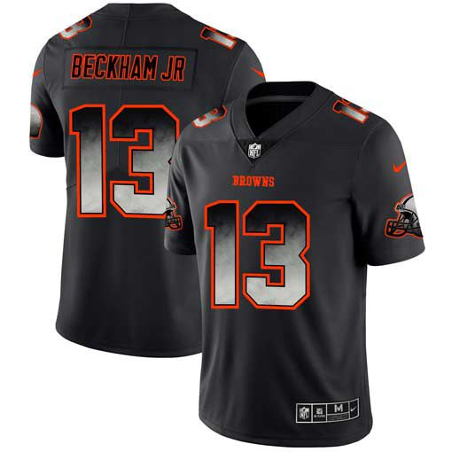 Men Cleveland Browns 13 Beckham jr Nike Teams Black Smoke Fashion Limited NFL Jerseys