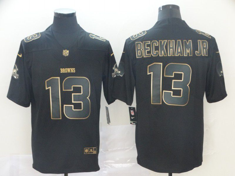 Men Cleveland Browns 13 Beckham jr Nike Vapor Limited Black Golden NFL Jerseys