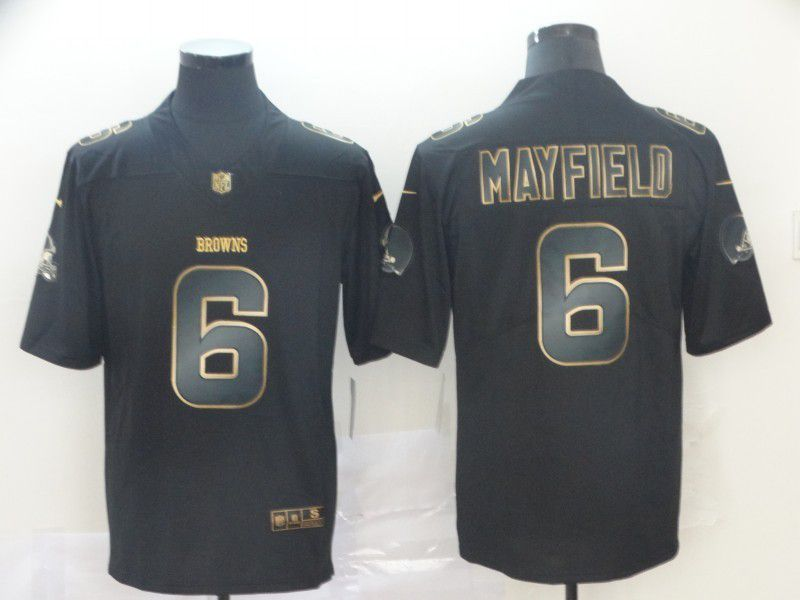 Men Cleveland Browns 6 Mayfield Nike Vapor Limited Black Golden NFL Jerseys