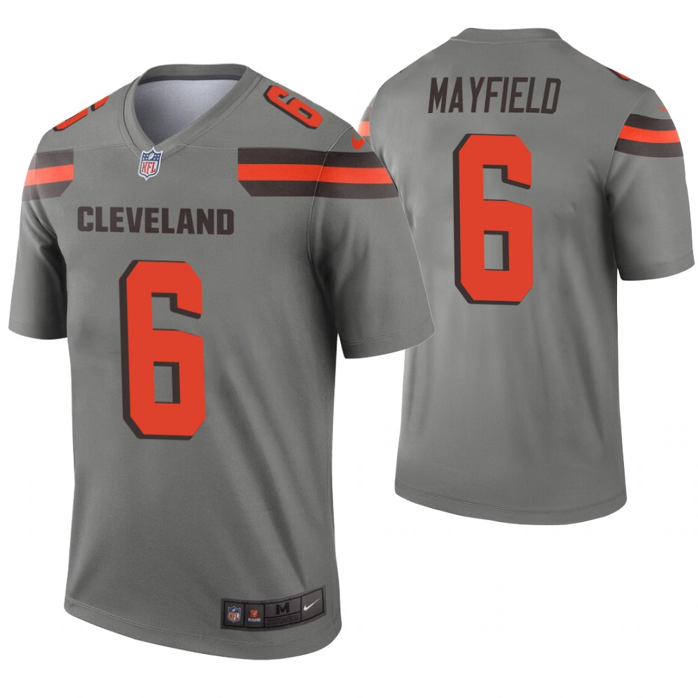Men Cleveland Browns 6 Mayfield Nike grey Limited NFL Jerseys