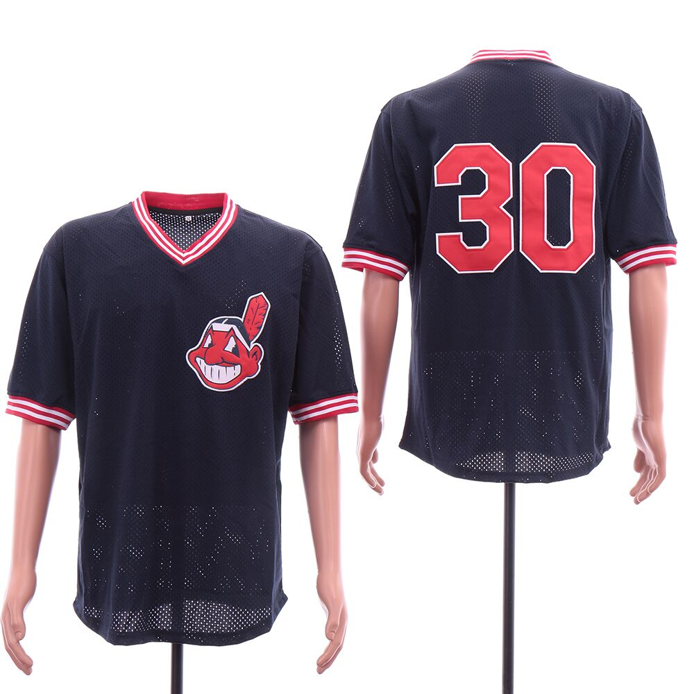 Men Cleveland Indians 30 Blue throwback MLB Jerseys