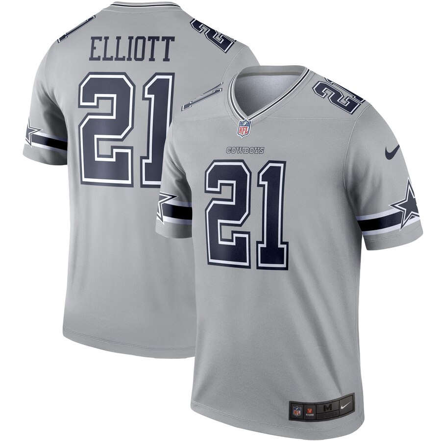 Men Dallas Cowboys 21 Ezekiel Elliott Nike grey Limited NFL Jersey