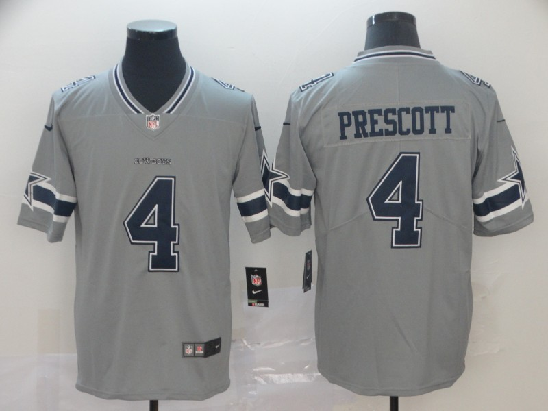 Men Dallas Cowboys 4 Prescott Nike grey Limited NFL Jersey