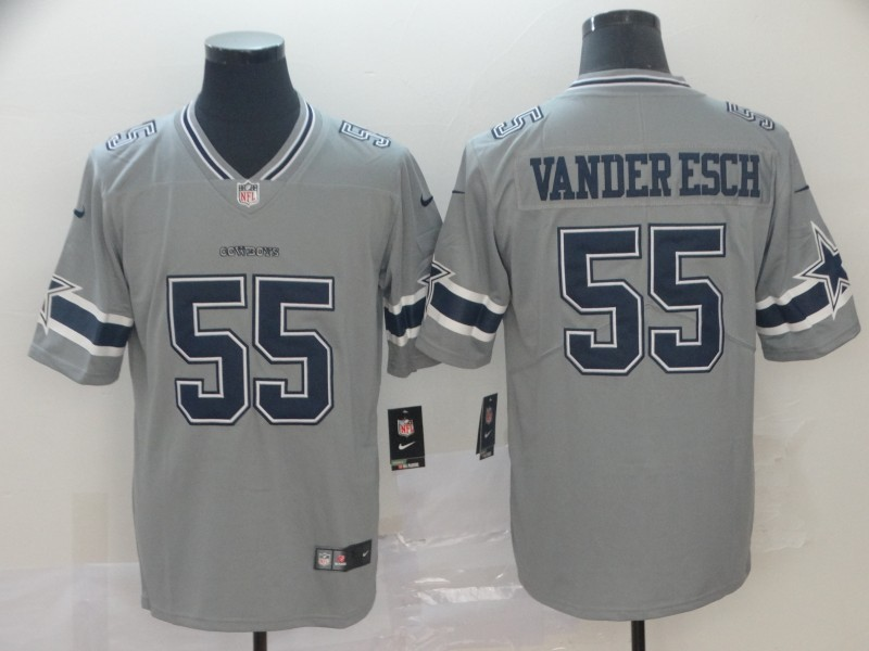 Men Dallas Cowboys 55 Vander Esch Nike grey Limited NFL Jersey
