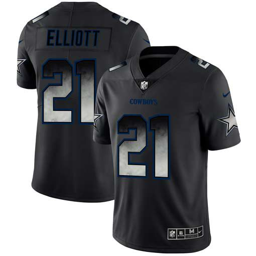 Men Dallas cowboys 21 Elliott Nike Teams Black Smoke Fashion Limited NFL Jerseys