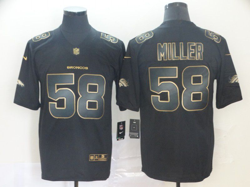 Men Denver Broncos 58 Miller Nike Vapor Limited Black Golden NFL Jerseys