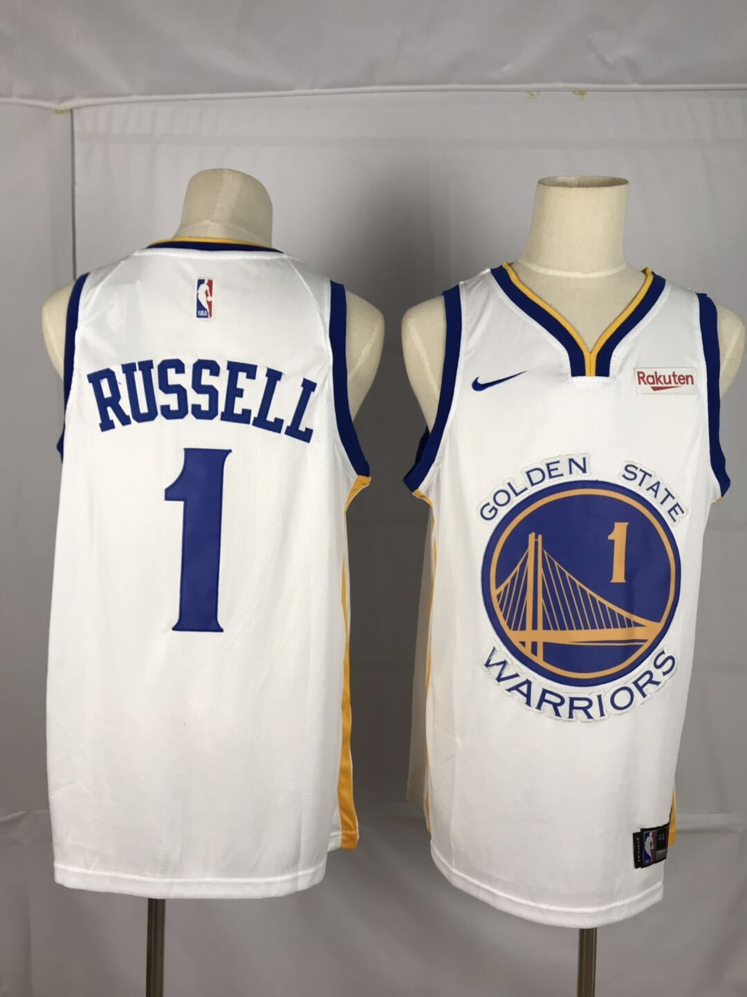 Men Golden State Warriors 1 Russell white Nike Game NBA Jerseys