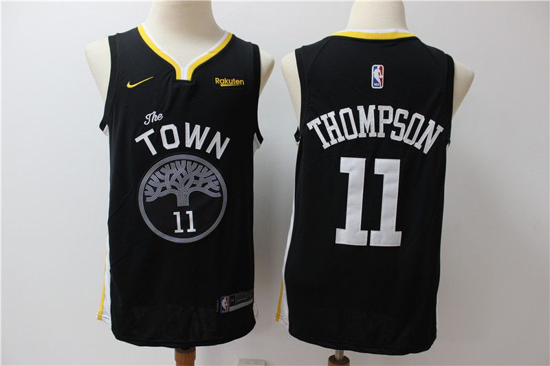Men Golden State Warriors 11 Thompson black Nike Game NBA Jerseys