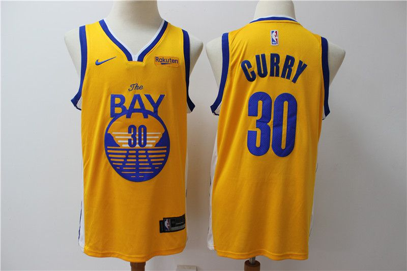 Men Golden State Warriors 30 Curry Yellow Nike Game NBA Jerseys style 2