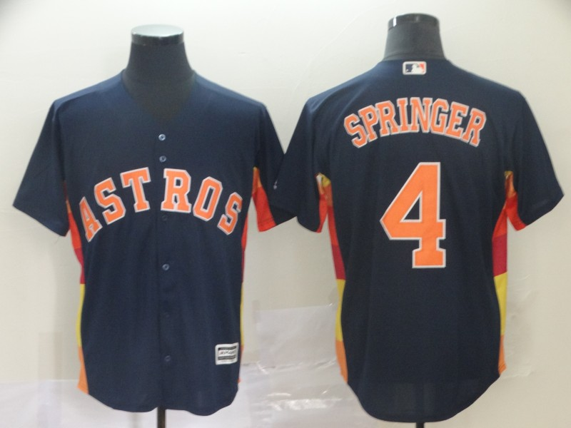 Men Houston Astros 4 Springer blue game MLB Jerseys