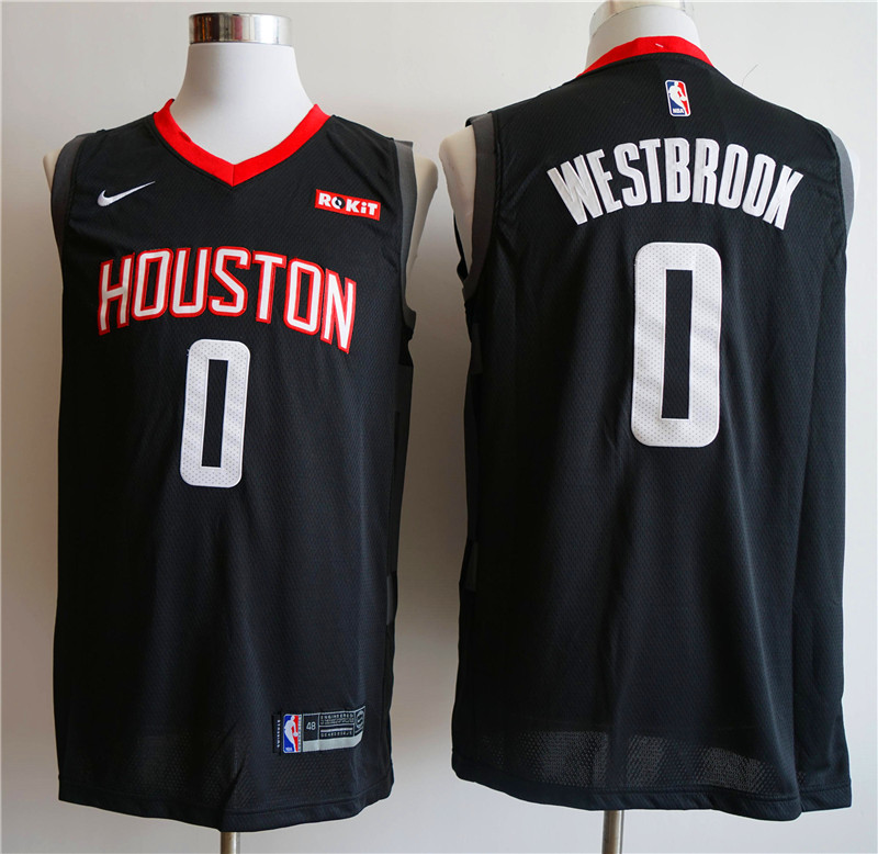 Men Houston Rockets 0 Westbrook black Game NBA Nike Jerseys