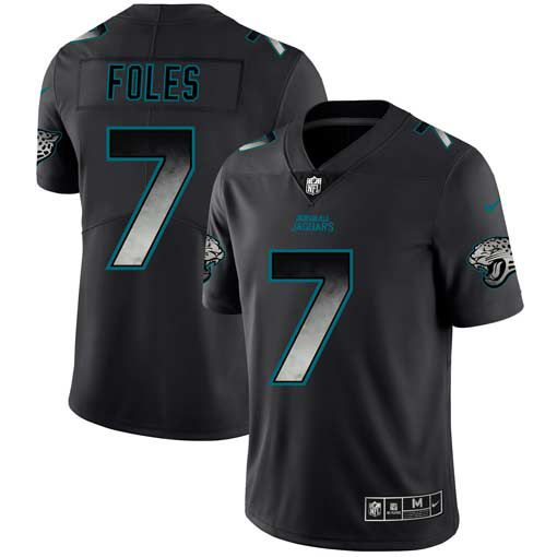 Men Jacksonville Jaguars 7 Foles Nike Teams Black Smoke Fashion Limited NFL Jerseys