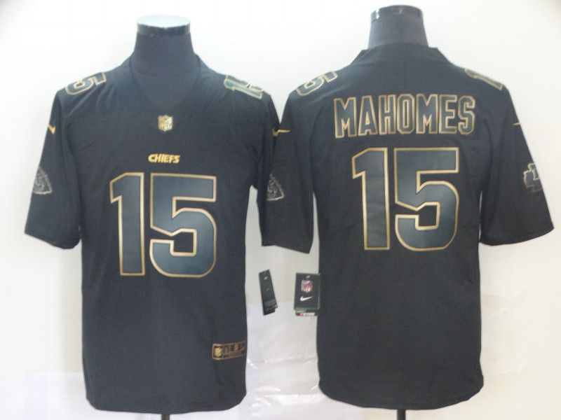 Men Kansas City Chiefs 15 Mahomes Nike Vapor Limited Black Golden NFL Jerseys