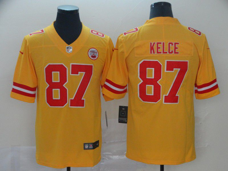 Men Kansas City Chiefs 87 Kelce Yellow 2019 Vapor Untouchable Nike Inverted Legend NFL Jerseys
