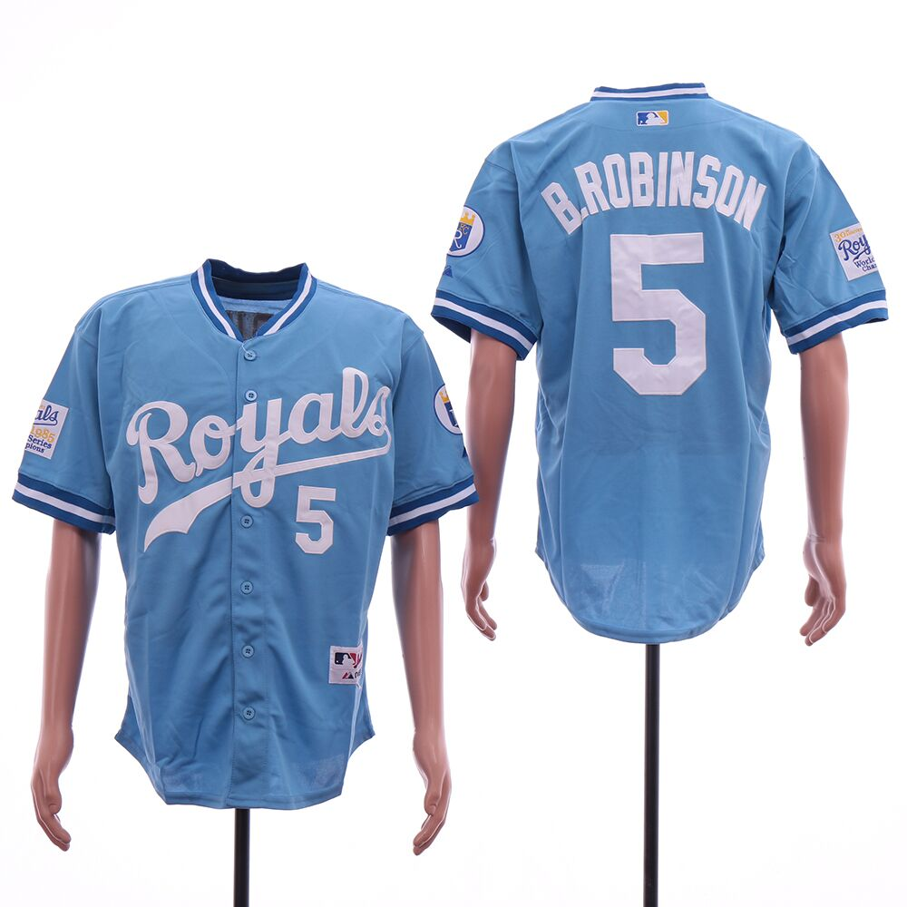 Men Kansas City Royals 5 B Robinson light blue throwback MLB Jerseys