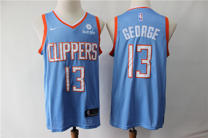 Men Los Angeles Clippers 13 George blue Game Nike NBA Jerseys2