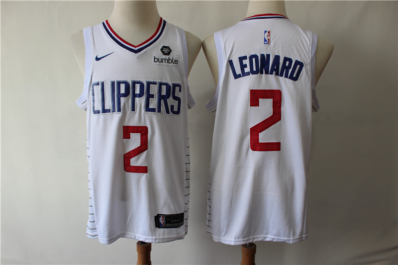 Men Los Angeles Clippers 2 Leonard white Game Nike NBA Jerseys (2)