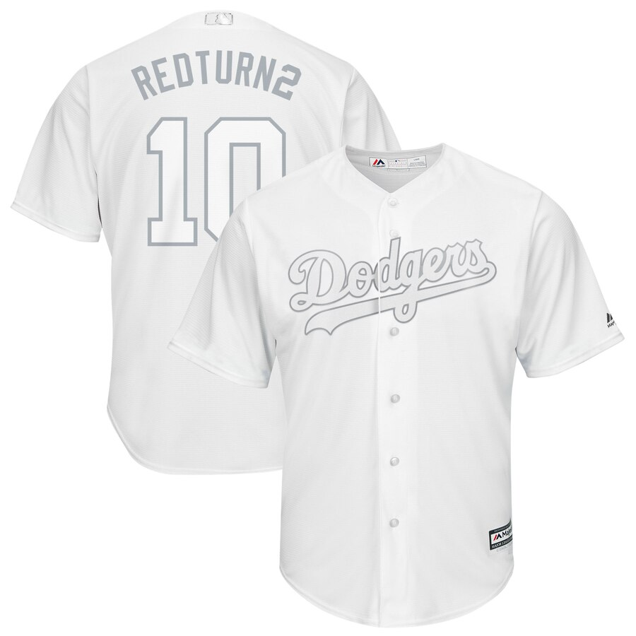 Men Los Angeles Dodgers 10 Redturn2 white MLB Jersey