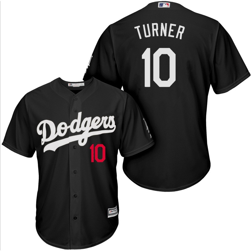 Men Los Angeles Dodgers 10 Turner black game MLB Jersey