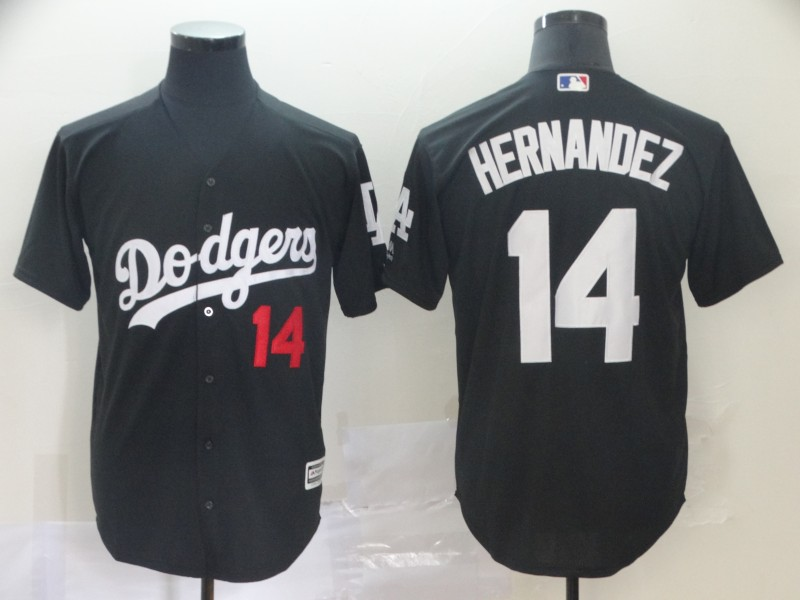Men Los Angeles Dodgers 14 Hernandez black game MLB Jersey