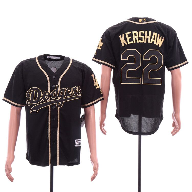 Men Los Angeles Dodgers 22 Kershaw Black golden MLB Jersey