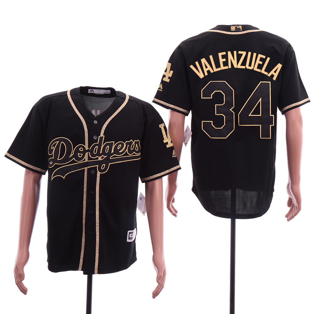 Men Los Angeles Dodgers 34 Valenzuela Black Elite MLB Jerseys
