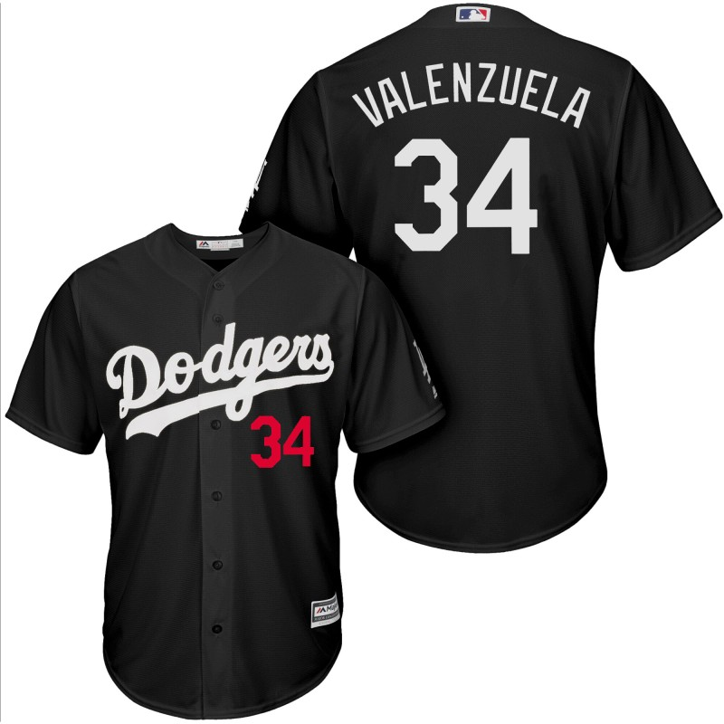 Men Los Angeles Dodgers 34 Valenzuela black game MLB Jersey