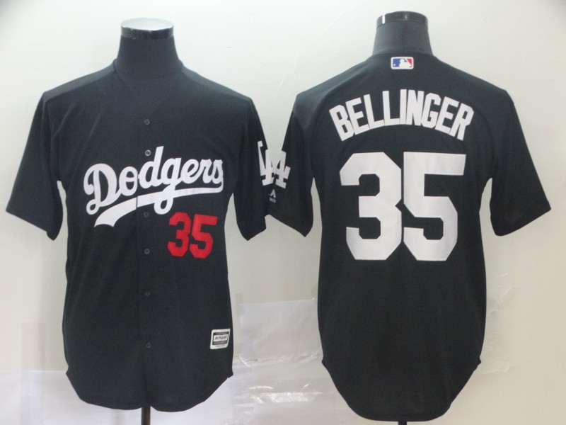 Men Los Angeles Dodgers 35 Bellinger black game MLB Jersey