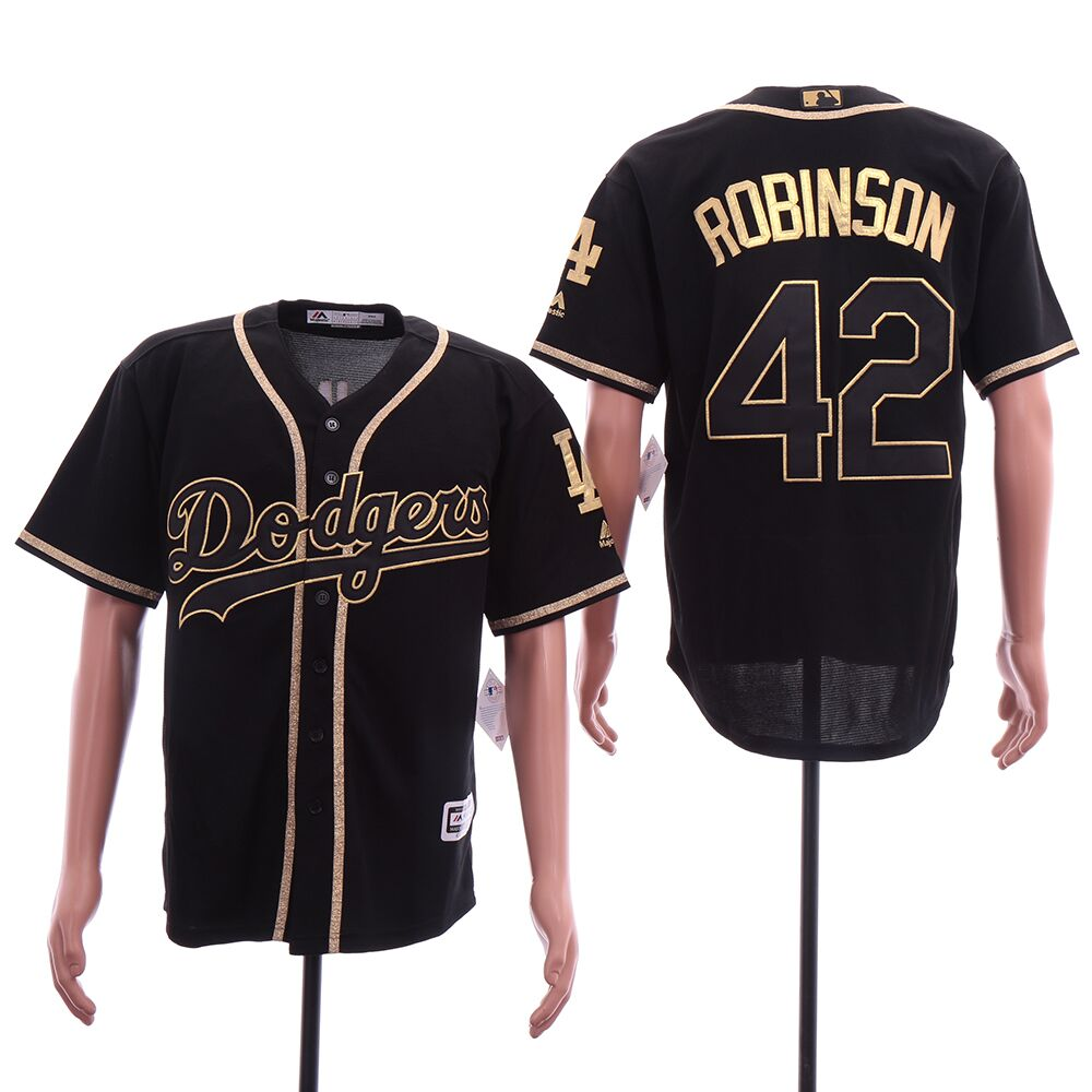 Men Los Angeles Dodgers 42 Robinson Black elite MLB Jerseys