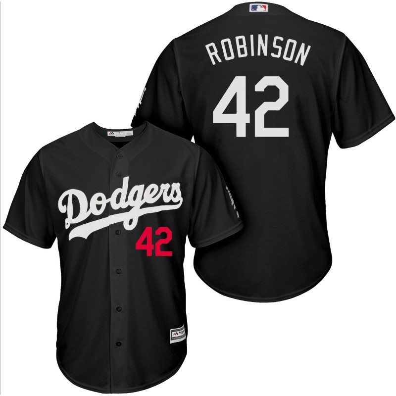 Men Los Angeles Dodgers 42 Robinson black game MLB Jersey
