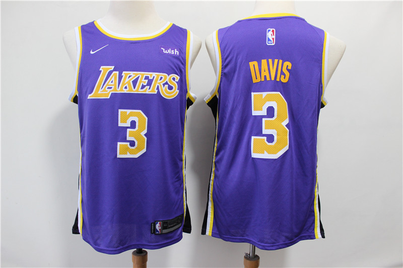 Men Los Angeles Lakers 3 Davis Purple Game Nike NBA Jerseys2