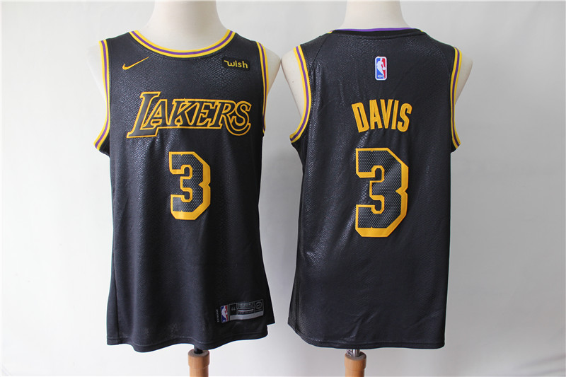 Men Los Angeles Lakers 3 Davis black Game Nike NBA Jerseys