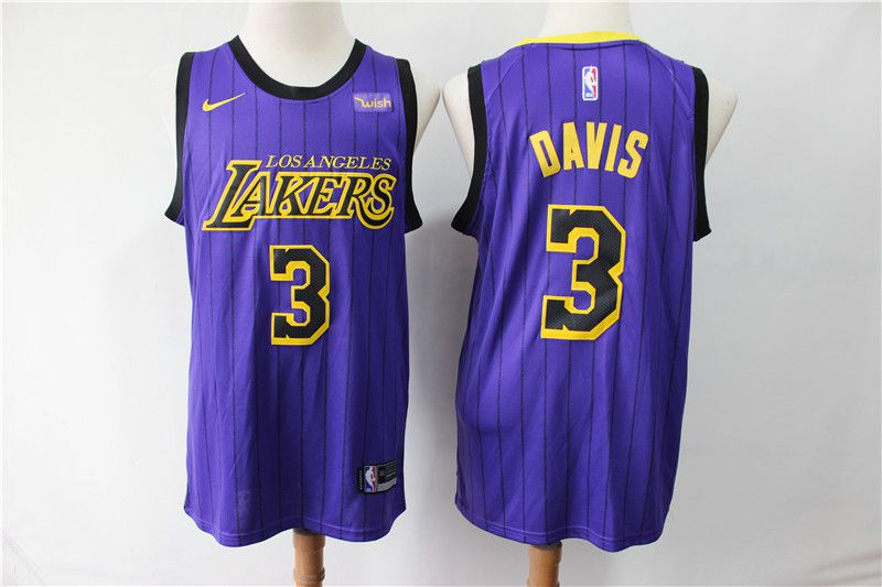 Men Los Angeles Lakers 3 Davis purple City Edition Nike NBA Jerseys
